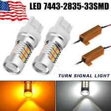 2x 7443 Dual Color Switchback 2835  White/Amber LED Turn Signal Light +Resistors