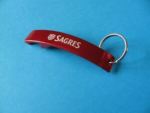 SAGRES Beer Brewery Key Ring & Bottle Opener. Keyring. Metallic Red. Ale.