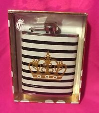 Wild Eye Designs Striped White and Black With Gold Crown 7.fl.oz Stainless Steel