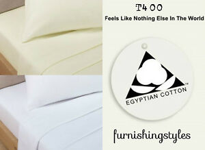 400TC LUXURY HOTEL QUALITY EGYPTIAN COTTON SATEEN FITTED FLAT SHEET ALL UK SIZE