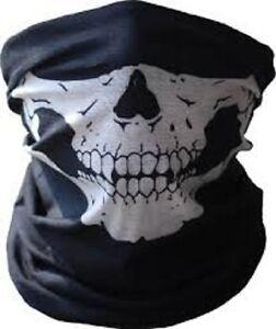 Biker Black Seamless Skull Face Tube Mask SWAT COD GHOST Cold Gear Half Dot