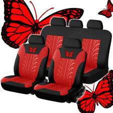 9x Black/Red Car Seat Covers Protectors Universal Washable Full Set Front Rear