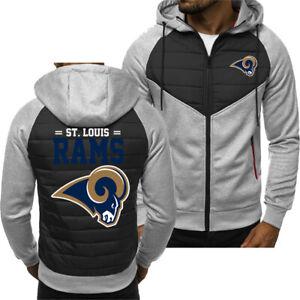 New St. Louis RAMS Hoodie Classic Autumn Hooded Sweatshirt Jacket Coat Top Tops