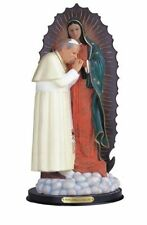 12 Inch Our Lady of Guadalupe w/ Pope John Paul 2 Virgen de Statue Figurine