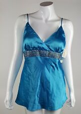 3-Di Womens Size 12 Blue Embellished Jeweled Lined Blouse Spaghetti Straps NWT