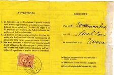 1885 Umberto I c.mi 20 isolato su ricevuta di ritorno da teramo - splendida