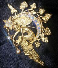 Kirks Folly Crescent Moon Fairy Gold Toned Rhinestones Brooch Pin