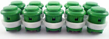 10 x 28mm Round Convex Curved Arcade Push Buttons & Microswitches (Green) - MAME