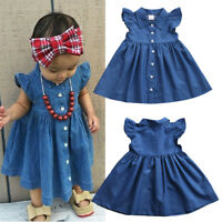 Pretty Toddler Baby Kids Girls Princess Denim Party Dress Clothes Summer Outfits