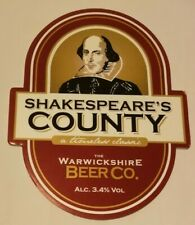 Beer pump clip badge front WARWICKSHIRE brewery SHAKESPEARE'S COUNTY cask ale
