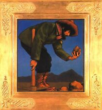 """MAXFIELD PARRISH BOOK PRINT """"THE PROSPECTOR"""" FORTY-NINER EXAMINES ROCK PICKAXE"""