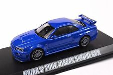 NISSAN SKYLINE GT-R 2002 BRIAN FAST & FURIOUS 1:43 GREENLIGHT 86219 NEW BLUE