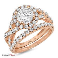 2.30CT Sim Round Cut Halo Engagement Bridal Ring band set 14k Rose Gold