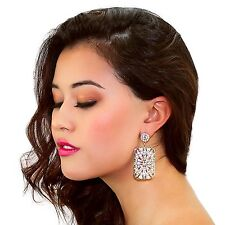Kristin Perry Crystal and Pearl Art Deco Chandelier Drop Earrings