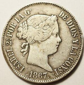 ESPAGNE : 1 ESCUDO ARGENT 1867 MADRID