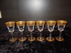 6 Weingläser Gläser Saint Louis Frankreich Thistle Gold