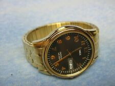 Men's Gold TIMEX Water Resistant Watch w/ Backlight & New Battery