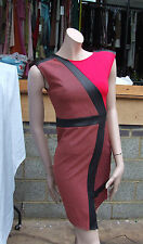 River Island BNWOT UK 8 Divine Red & Black Asymmetric Dress Faux Leather Bands