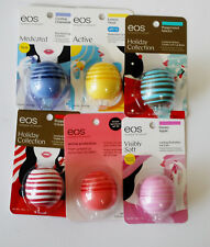 New Authentic Lot of 6 eos Lip Balm Peppermint Cream,Mocha, Chamomile,HoneyApple