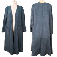 LuLaRoe Womens Large Long Duster Cardigan With Pockets Long Sleeve Blue