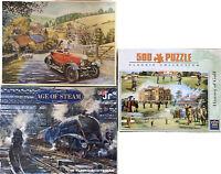 500 Piece Jigsaw Puzzles QTY 3 - Bundle Of 3x Jigsaws - Trains Cars Sports