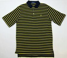 VTG 90s Polo Ralph Lauren Golf Striped Pony Shirt M Rugby USA Button Crest Sport