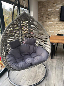Double Rattan Egg Swing Chair