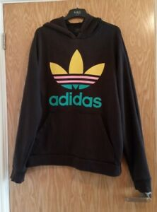 Mens Adidas Hoodie Size XL Big Trifoil Double Sided Autumn Winter