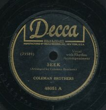 78tk-R&B vocal group-DECCA 48051-The Coleman Brothers