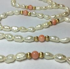 VINTAGE FRESHWATER PEARL 14K YELLOW GOLD STRAND NECKLACE PIN CORAL BALL BEAD