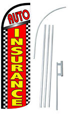 Auto Insurance Extra Wide Windless Swooper Flag Bundle