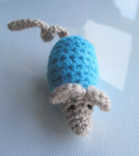 Handmade Crochet Organic Cat Nip Mouse Toy ~ Rainbow Colours