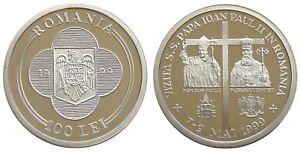 POPE IOANNES PAULUS VISIT IN ROMANIA 100 LEI 1999 ALUMINIUM COIN PATTERN PROOF
