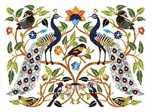 Marble Wall Panel Peacock Design Dinette Table Top Multi Color Gemstone Inlaid