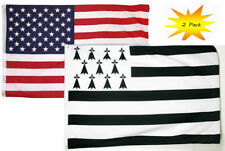 3x5 3'x5' Wholesale Set (2 Pack) Usa American & Bretagne Brittany Flag Banner