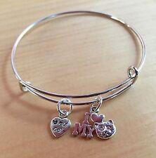Child/Girls ~ I Love My Cat & Paw 2 Silver charms Expandable Bangle Bracelet