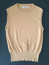 YSL RIVE GAUCHE 100% CASHMERE CAMEL MENS SLEEVELESS SWEATER VEST SZ.S