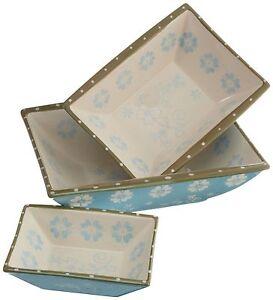 New DII Crystal Blue Vintage Flower Set of 3 Ceramic Serving Dishes-ship free