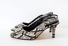 Ros Hommerson Black/White Snakeskin Slingback Open Toe Pumps Shoes 10.5W