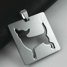 Stainless Steel Chihuahua Silhouette Square Dog Tag Pet Charm Pendant + Necklace