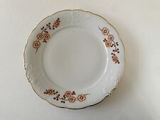 "Wawel China Poland Flowers Embossed Scroll Gold Trim WAV99 10-3/8"" DINNER PLATE"