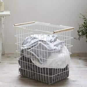 Yamazaki Wäschekorb Wäschesammler L weiß Metall Gitter mit Holz Tosca