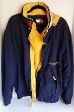 🔥 Vintage Rare TOMMY HILFIGER Men's Blue Windbreaker Fleece Lined Jacket, Large