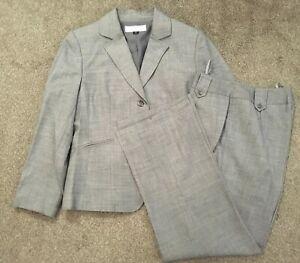 Tahari By Arthur S Levine Womens Gray 2-Piece Business Pant Suit Sz 8P