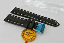 100% Genuine New Authentic Breitling Black Calf Leather Tang Buckle Strap 24-20