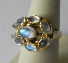 Natural Moonstone Cabochon Cocktail 14K Yellow Gold Ring Size 7