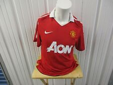 VINTAGE NIKE MANCHESTER UNITED F.C. AON LARGE HOME RED JERSEY 2010-2011 PREOWNED