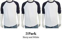 3/4 Sleeve T-Shirt Baseball Tee Raglan Jersey Sports Men's Tee S-2X (3Pack)