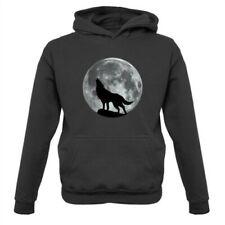 Wolf Moon Silhouette - Kids Hoodie Werewolf Direwolf Animal Love Howl