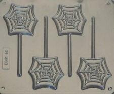 SPIDERS WEB CHOCOLATE LOLLIPOP MOULD 4 CAVITY HALLOWEEN SPOOKY TRICK OR TREAT